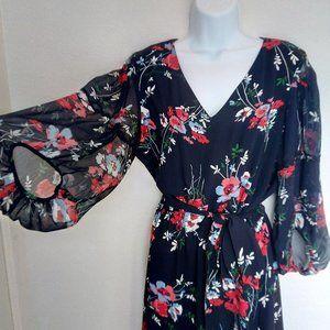 Lauren RL Crepe Navy Floral Ruffle Print Dress 8